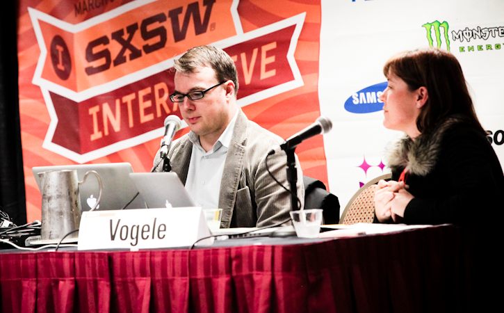 CNET Correspondent Declan McCullagh and Collette Vogele of the nonprofit group Without My Consent at a South by Southwest panel about anonymity on social-media sites.