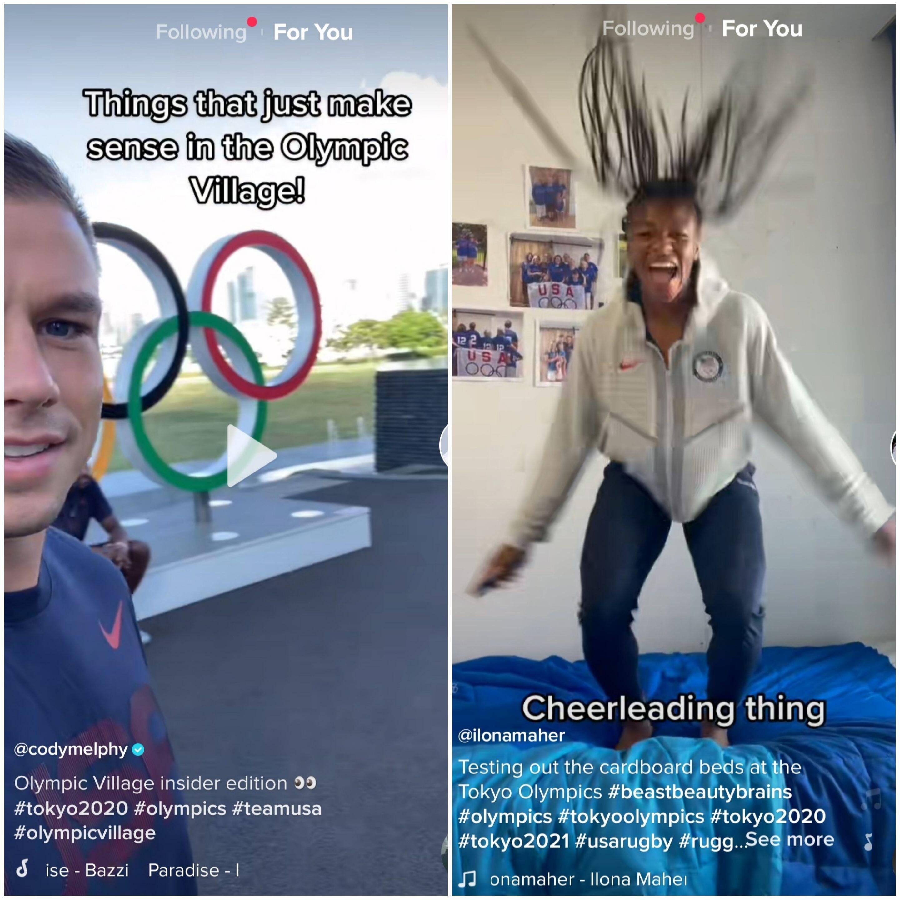 Screenshots from athletes on Tiktok in the Olympic Village