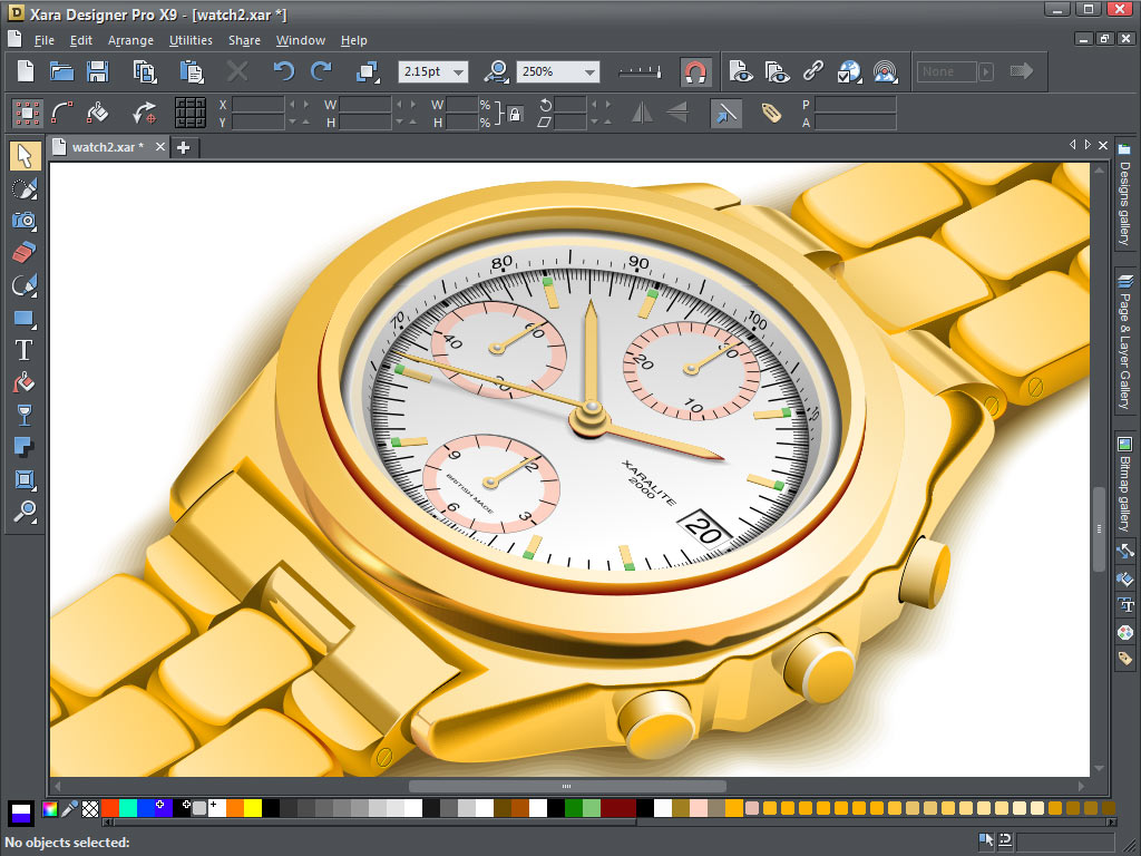 Xara Design Pro X9's illustration tools can be used to create complicated vector art.