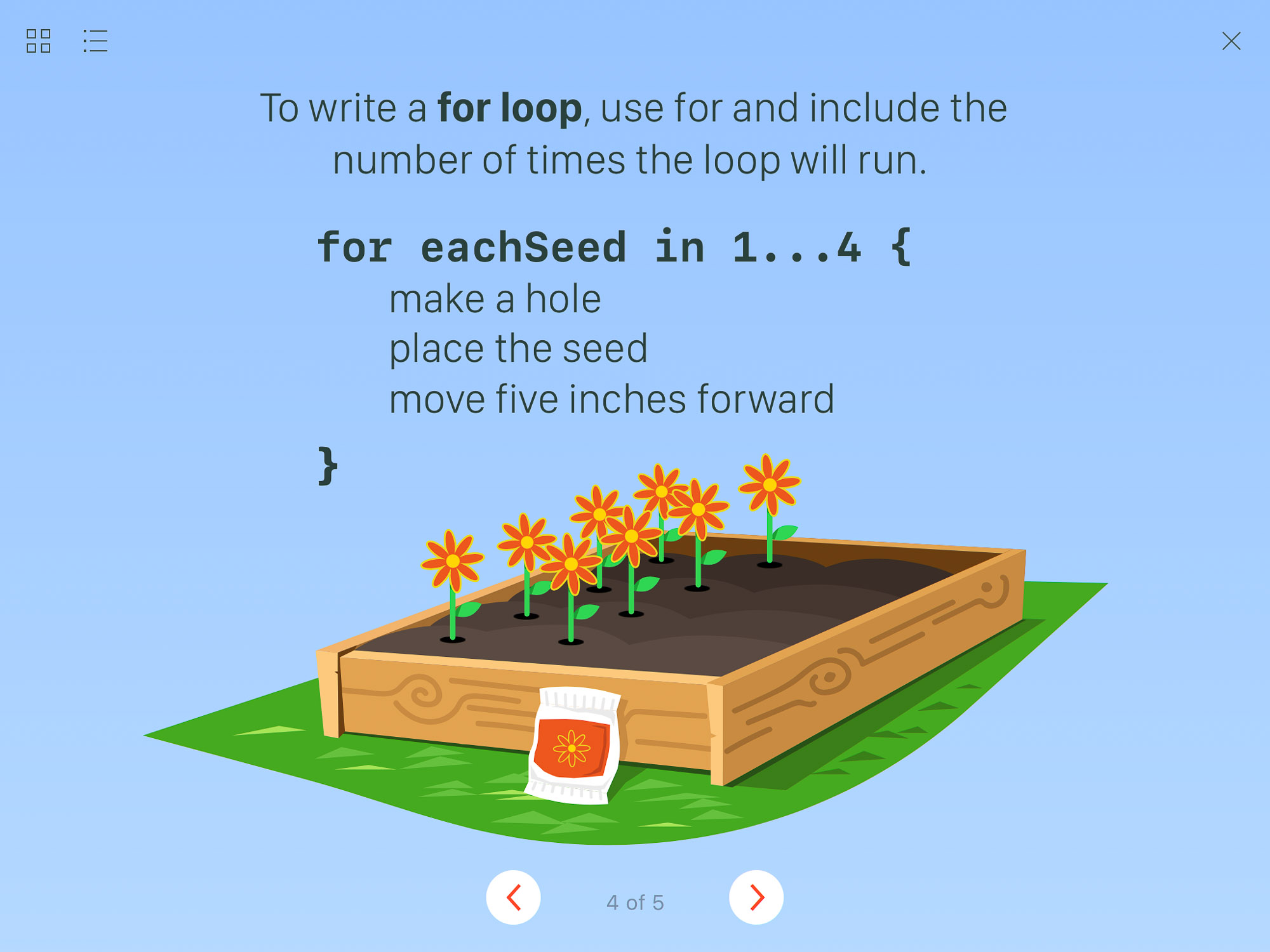 Apple's Swift Playgrounds app uses an example of planting seeds to describe how a for loop automates repeated tasks.