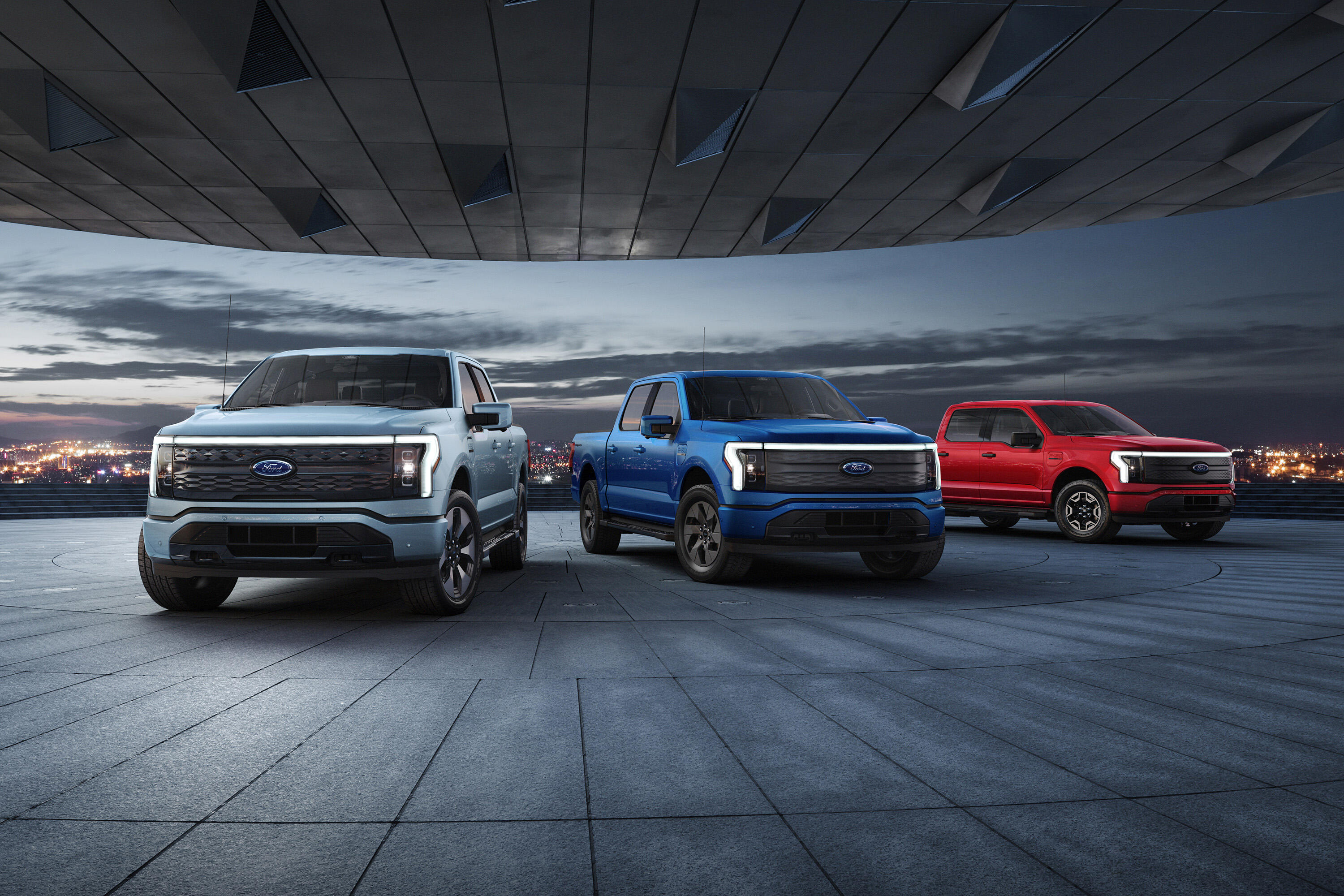2022 Ford F-150 Lightning - red, blue and silver