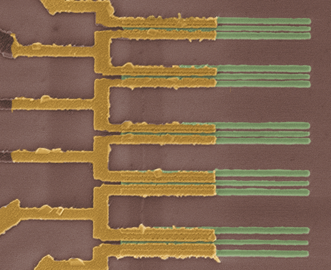 This microscopic view shows a faint vertical line consisting of carbon nanotube segments bonded to the golden-colored parallel wires.