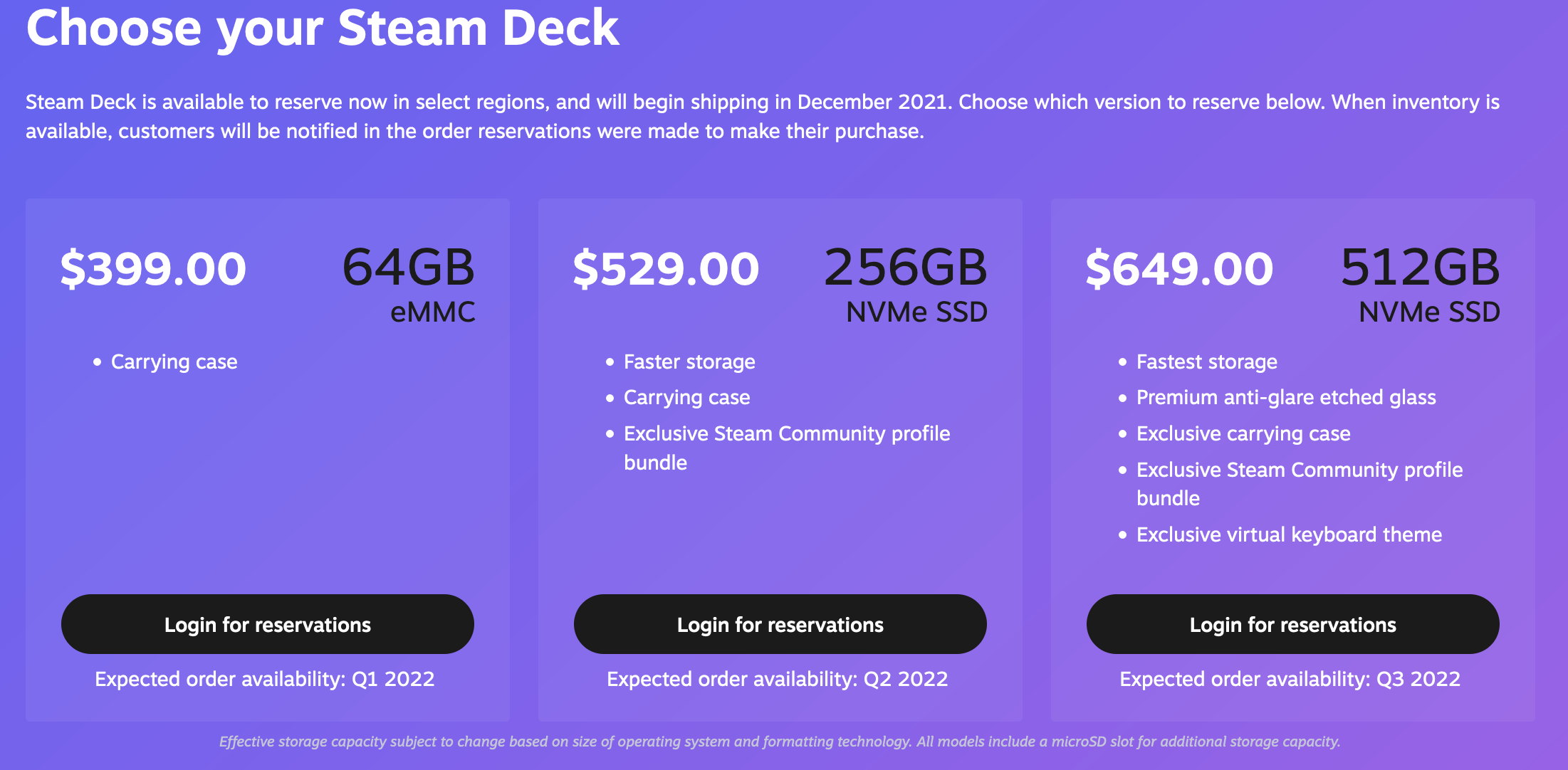 The updated Steam Deck reservation page with new dates