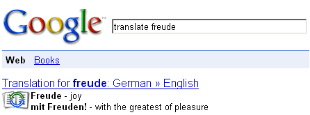 Google's search engine now translates text on command in some cases.