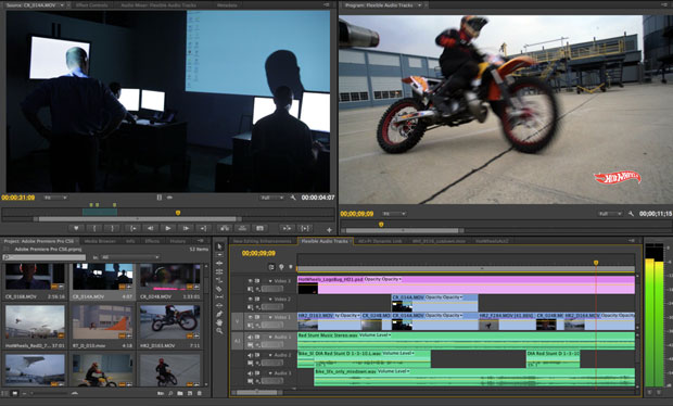Premiere Pro CS6 gets a streamlined interface and a retooled panel at lower left for organizing and trimming video clips.