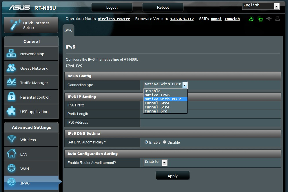 With most routers, IPv6 can be managed via the Web interface.