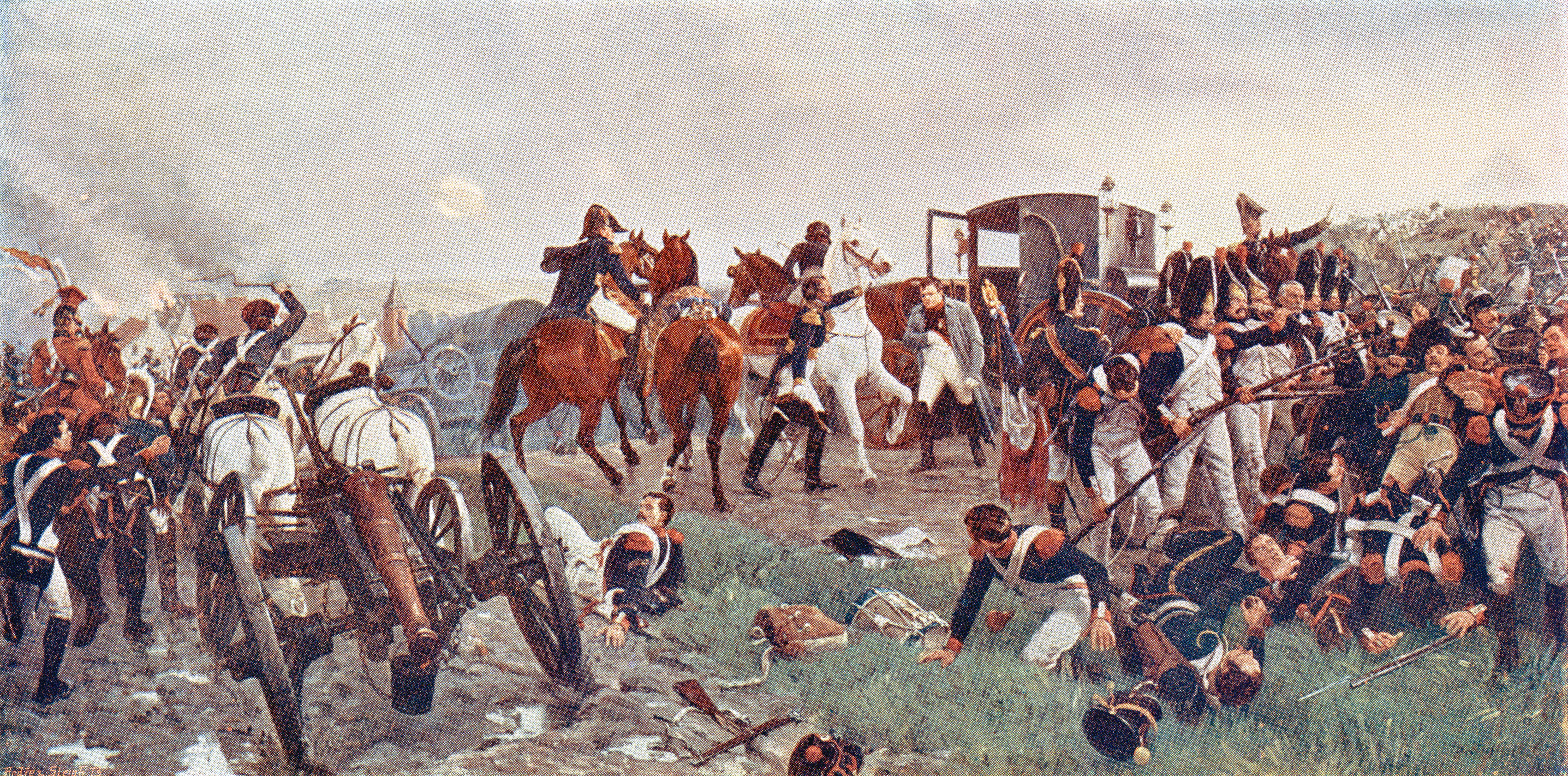 """The painting """"On the Evening of the Battle of Waterloo,"""" by Ernest Crofts"""