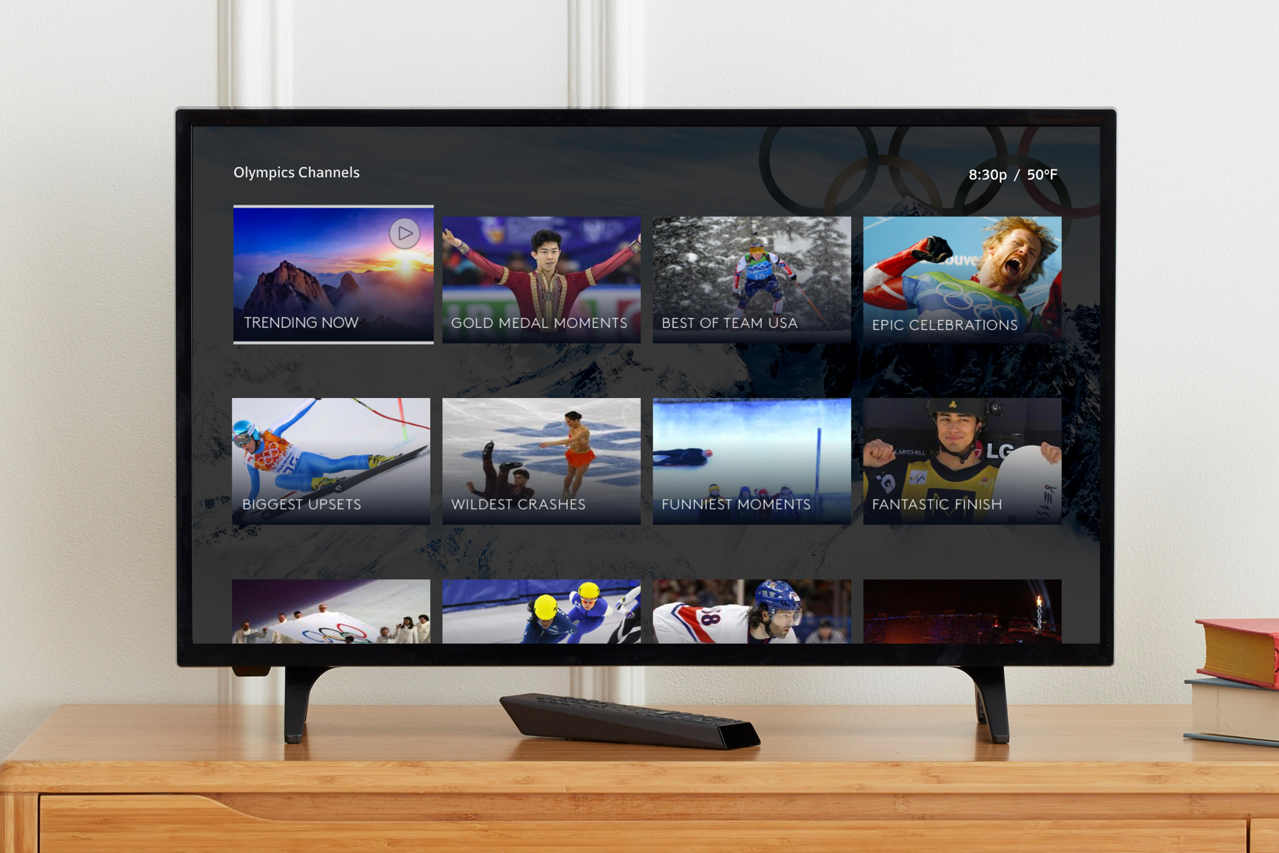 A TV shows virtual channel options for watching the Winter Olympics