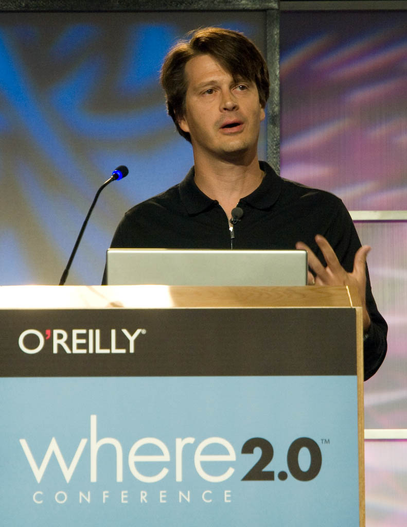 John Hanke, head of Google Maps and Google Earth, speaks at the Where 2.0 conference in Burlingame, Calif.