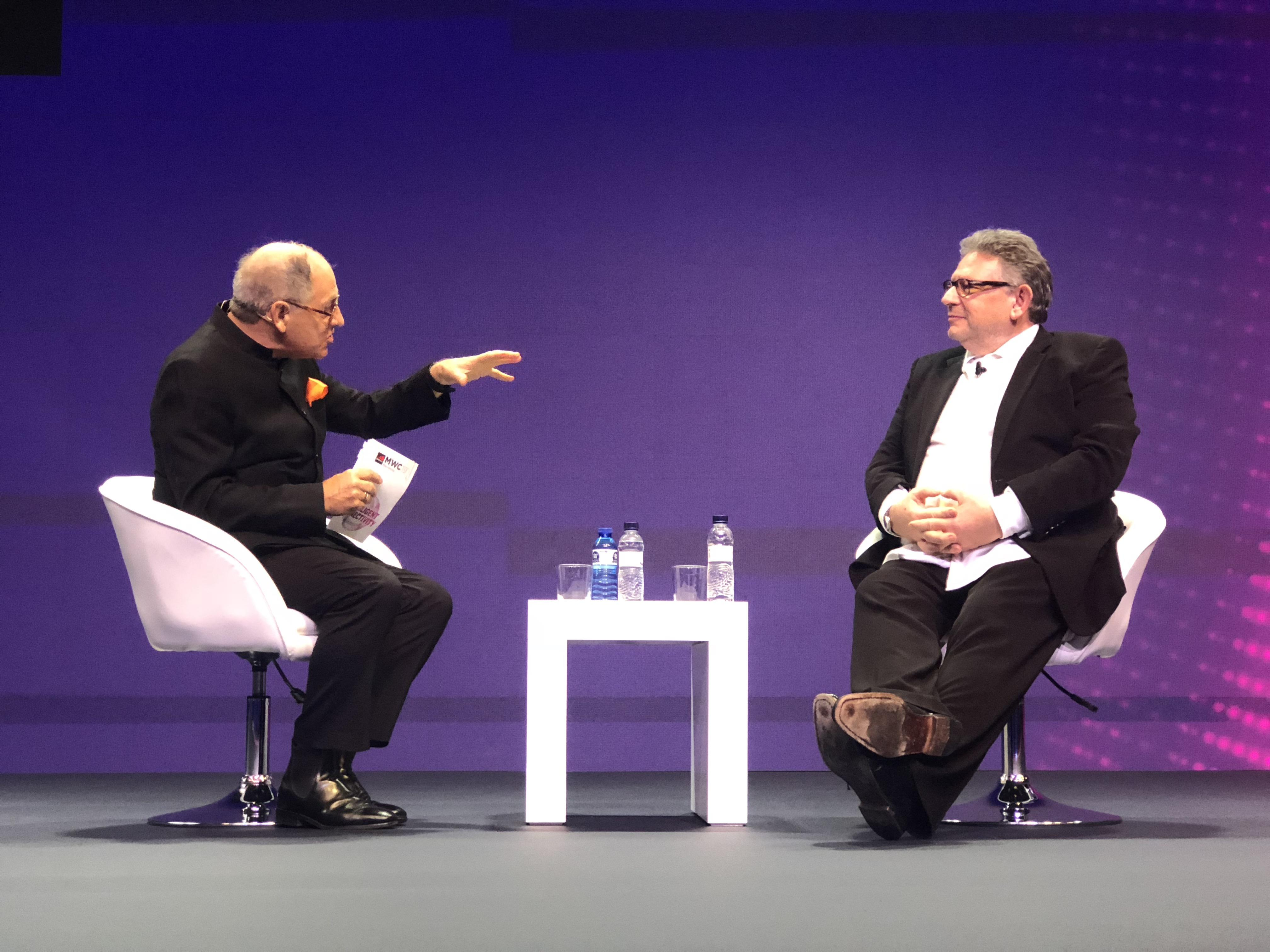 Universal Music Group CEO Lucian Grainge being interviewed on stage at MWC 2019 in Barcelona.