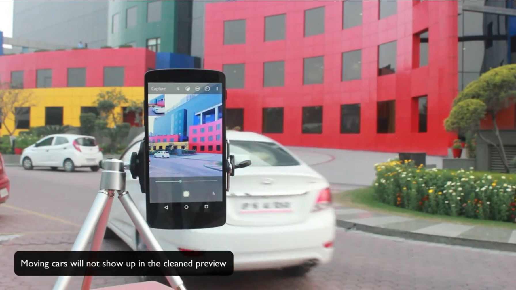 """Adobe' """"monument  mode"""" removes moving items from a scene. In this shot, the stationary car remains."""