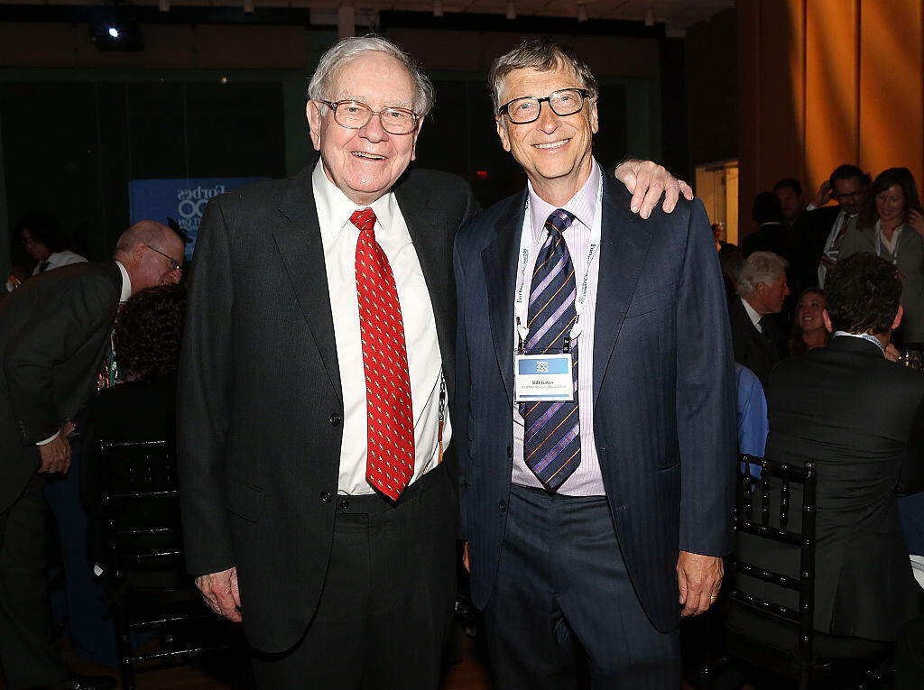 <p>Warren Buffett, seen with Bill Gates in 2015, is stepping down from the board of the Bill and Melinda Gates Foundation.</p>