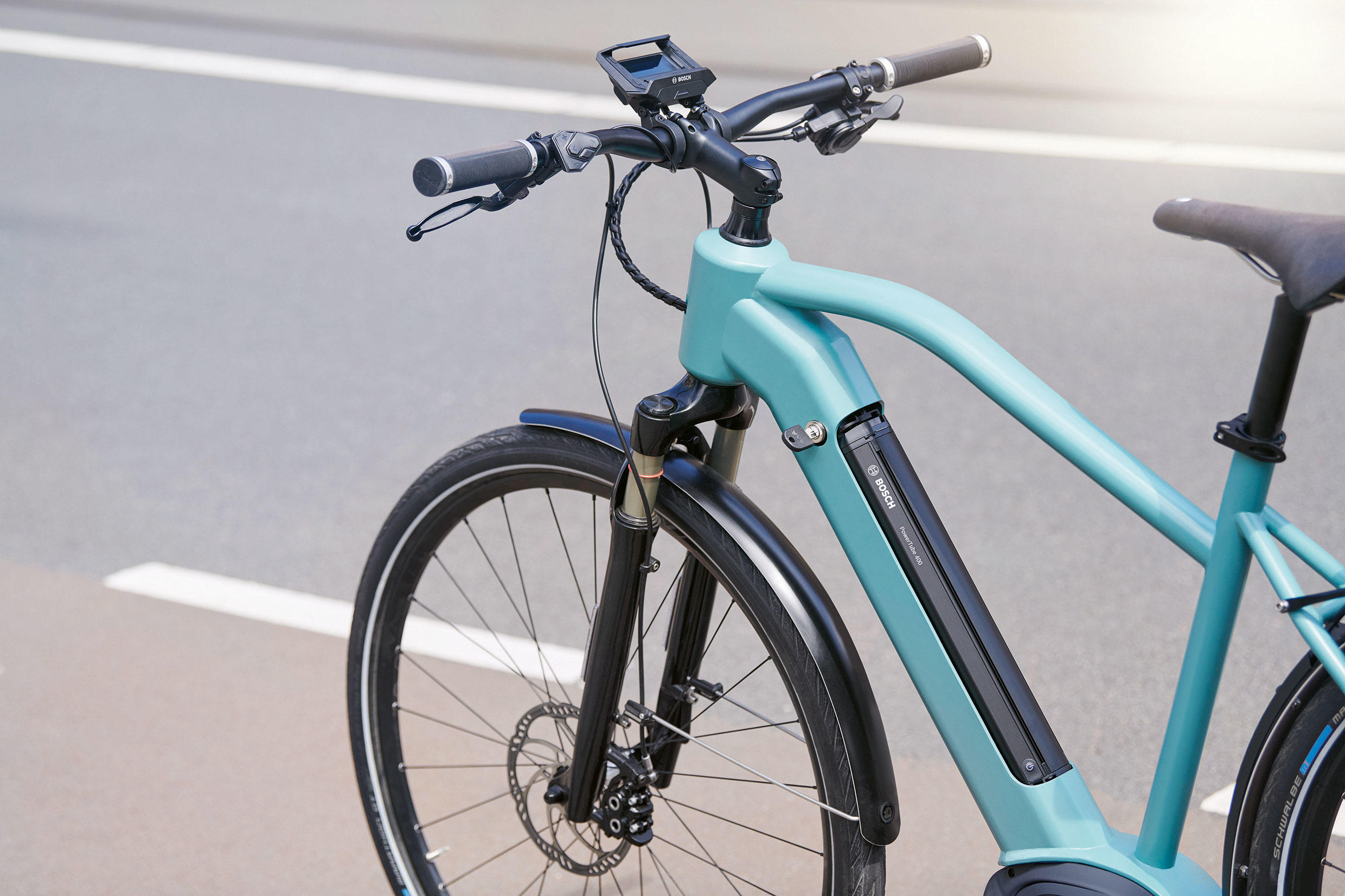 Bosch's PowerTube 400 battery lends a sleeker look to 2020 e-bikes, while its handlebar-mounted SmartphoneHub shows basic riding data and offers a smartphone mount.