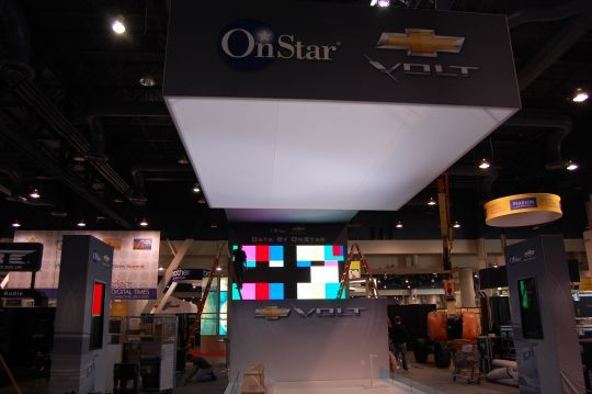OnStar/Chevy booth awaits its Volt