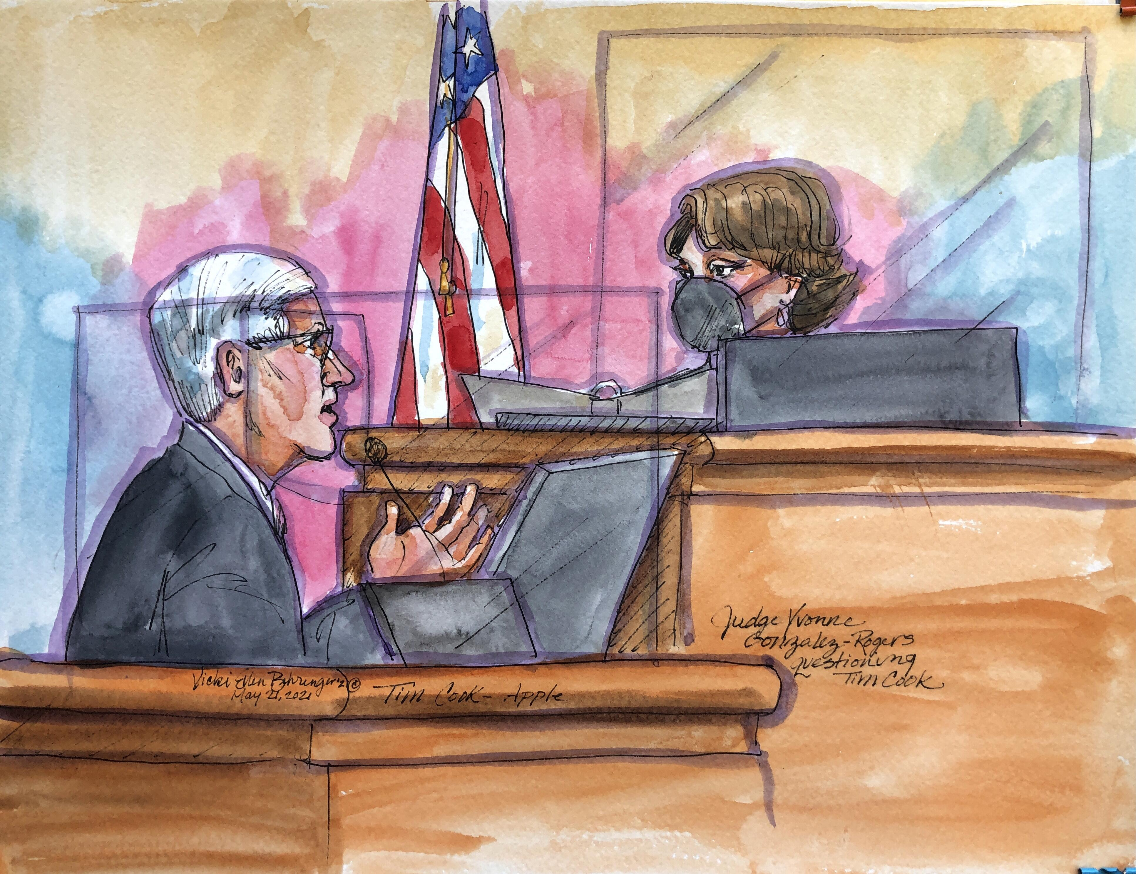 Artist's sketch of Apple CEO Tim Cook testifying in court.