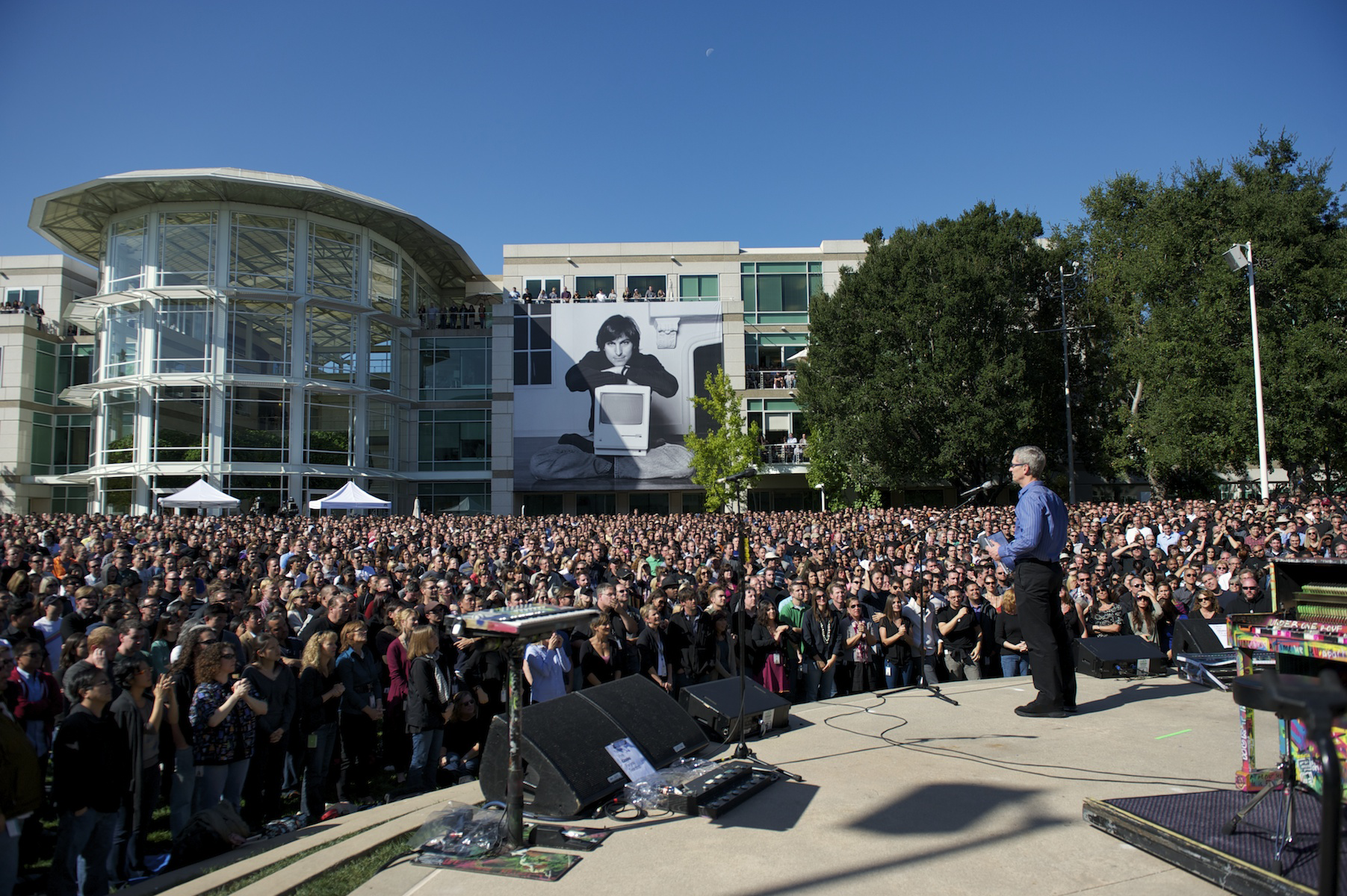 Apple CEO Tim Cook at the celebration of Steve Jobs' life earlier today.