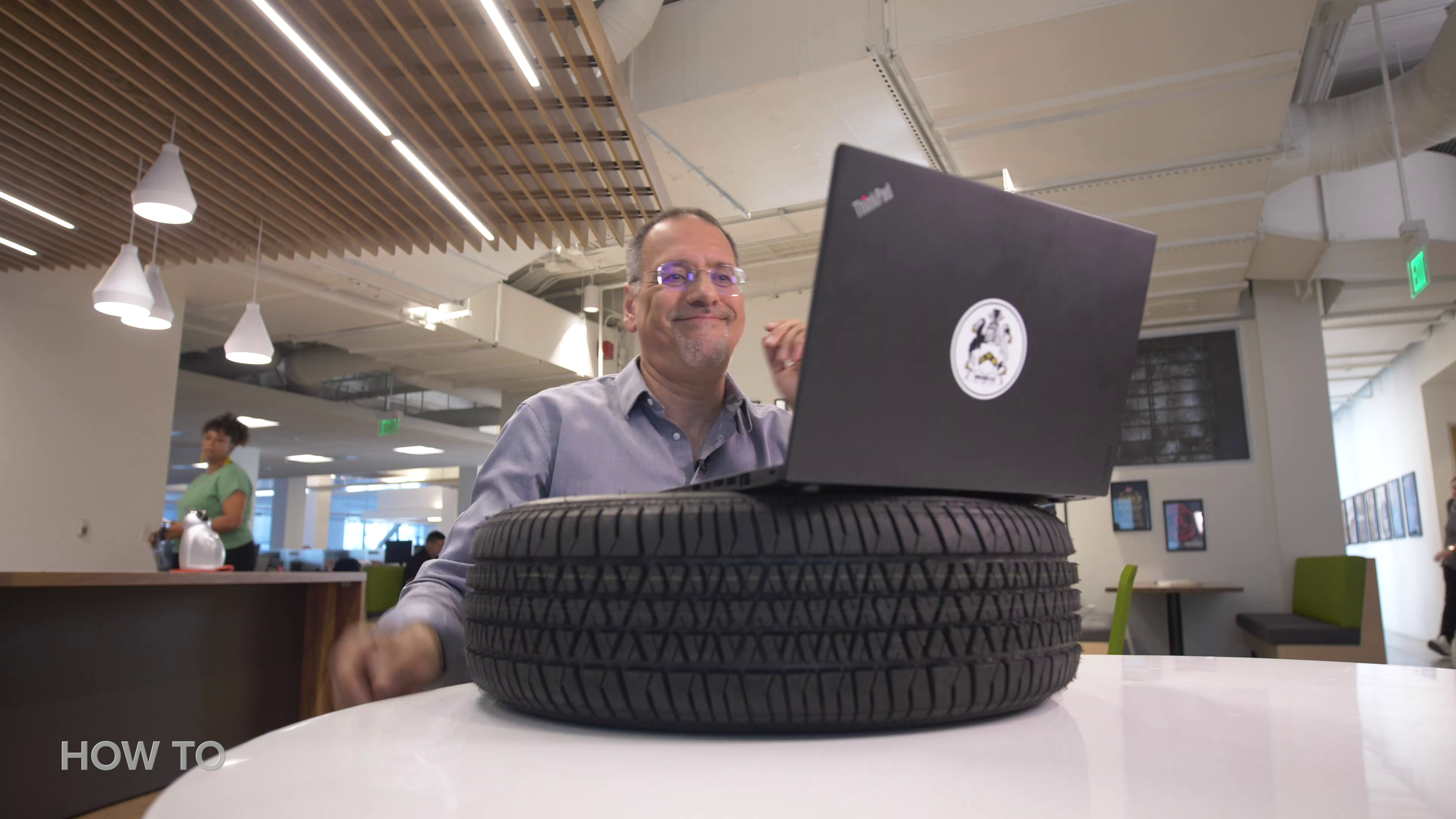 Laptop on a tire