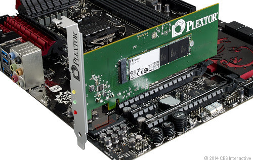 The new Plextor M6e drive installed on a motherboard of a desktop machine.