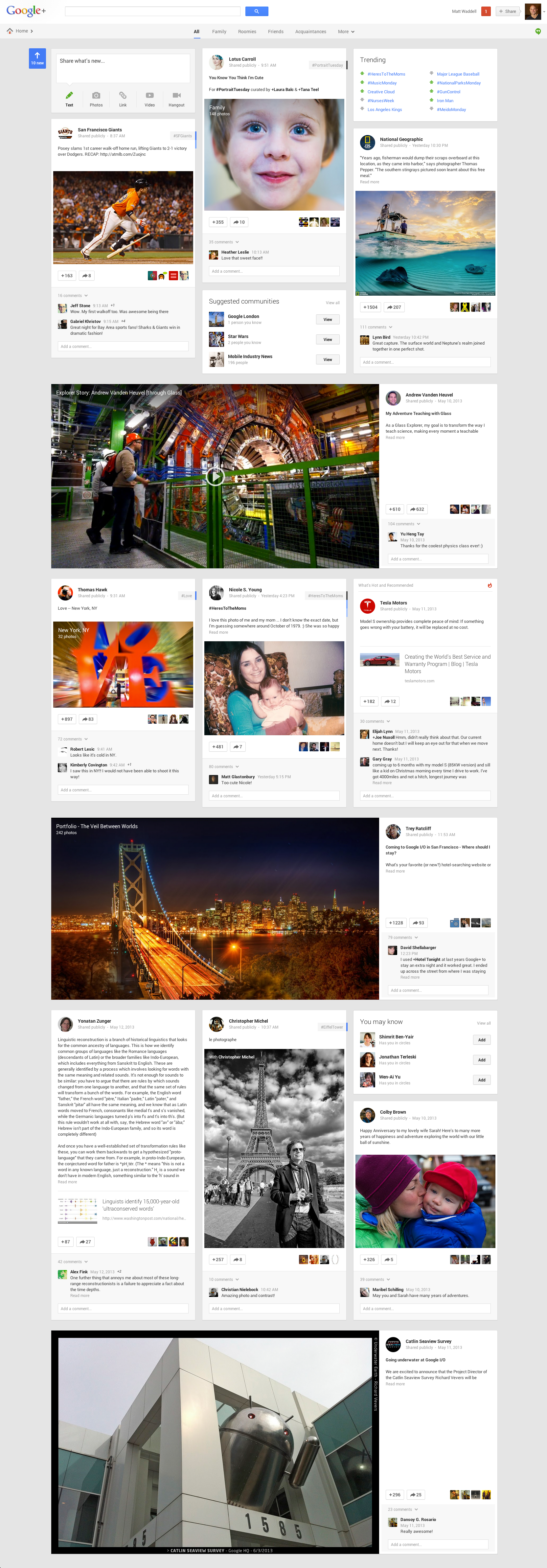 New look for Google+ Stream