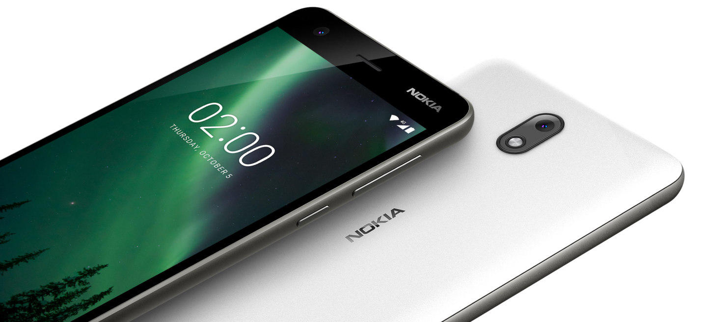 A shot of the front screen and back side of the Nokia 2