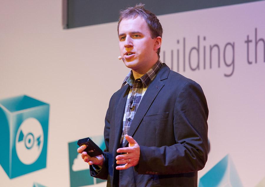 Facebook CTO Bret Taylor speaking at Mobile World Congress in Barcelona.