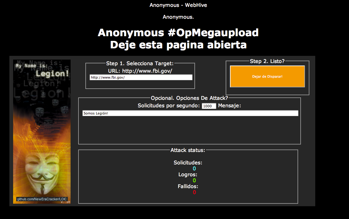 The Web pages hosting the denial-of-service attack tools, some of which were in Spanish, redirected the visiting computer to the target site automatically, unless JavaScript was disabled, while others allowed users to specify which site to target.