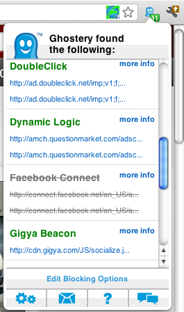 Ghostery tracker list in Google Chrome