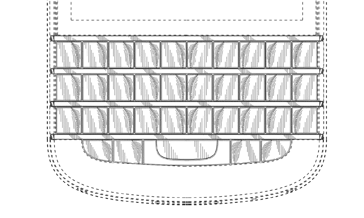 BlackBerry's design patent D685,775 covers the look of its keyboard, including the sculpted keys.