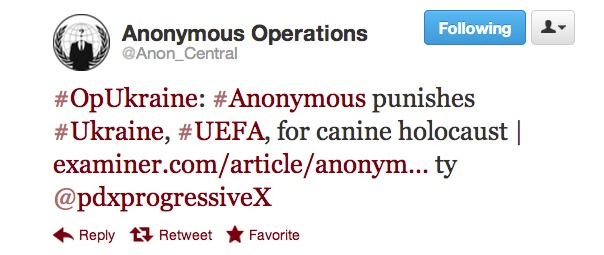 Anonymous accounts tweeted about an attack on a Euro 2012 Web site to protest mass killings of dogs ahead of the soccer championship in Ukraine.