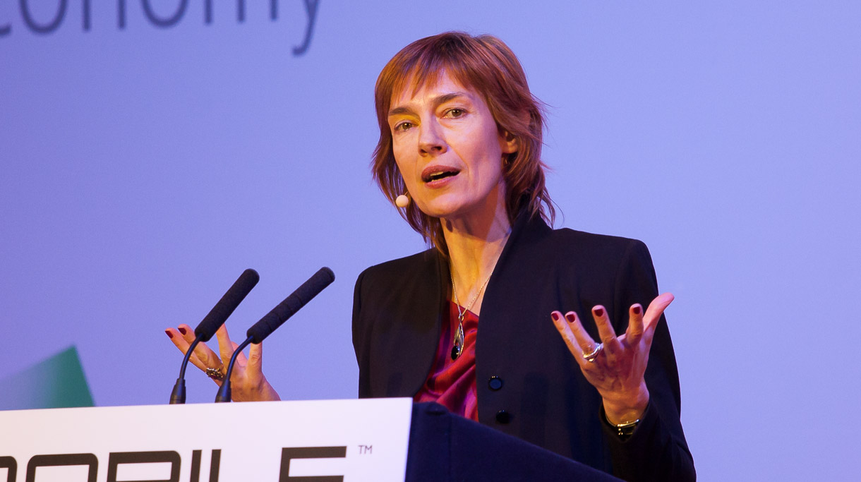 Anne Bouverot, director general of the GSMA, speaking at Mobile World Congress in 2012.
