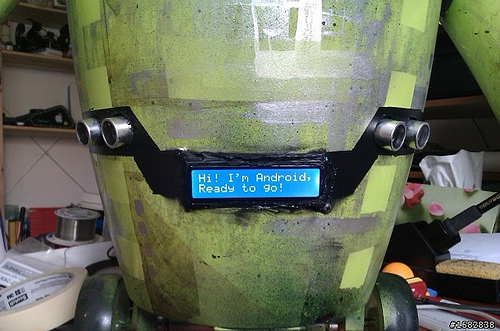 Screen on trash can robot