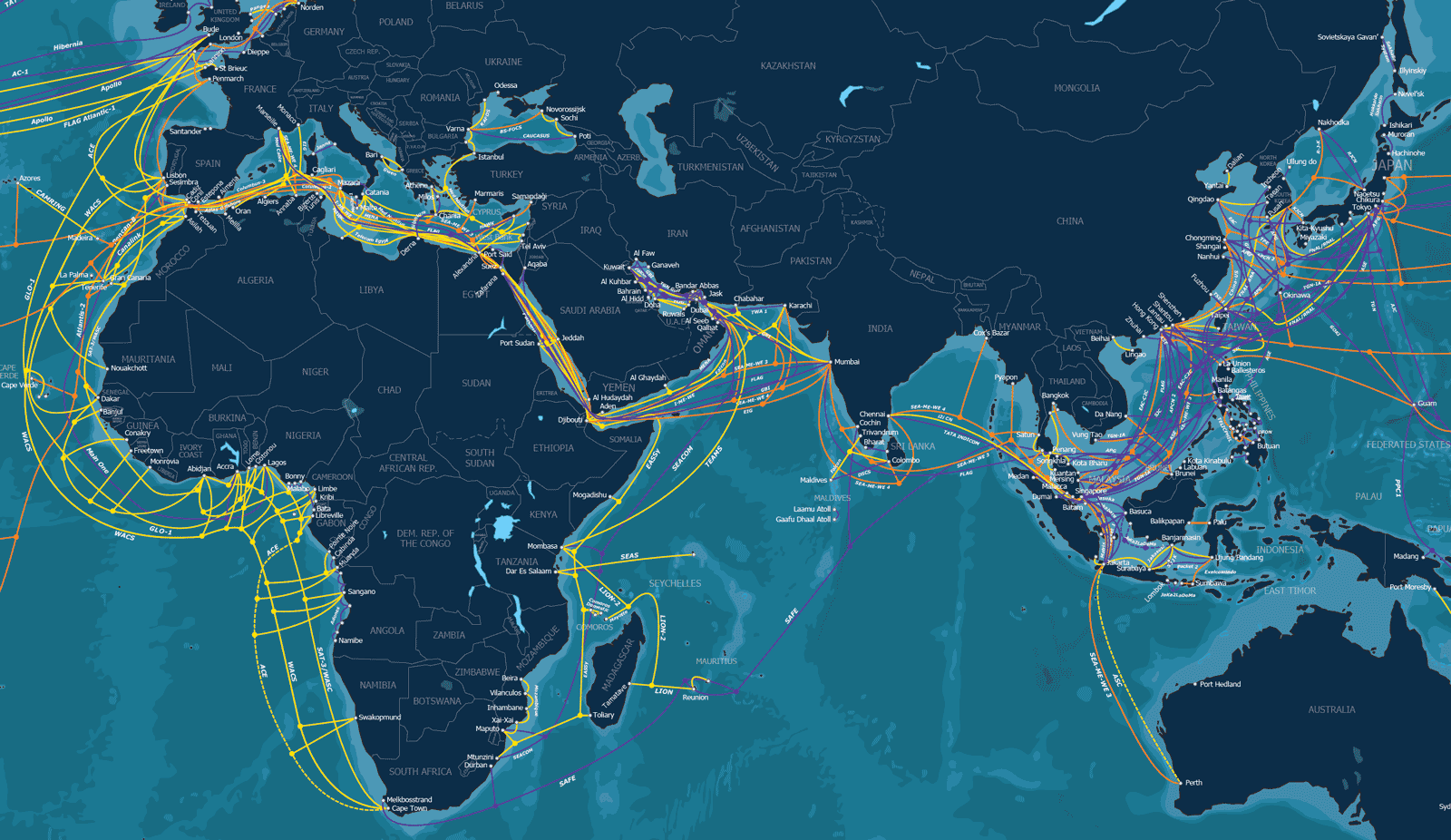 Dozens of undersea network cables connect cities, countries, and continents.