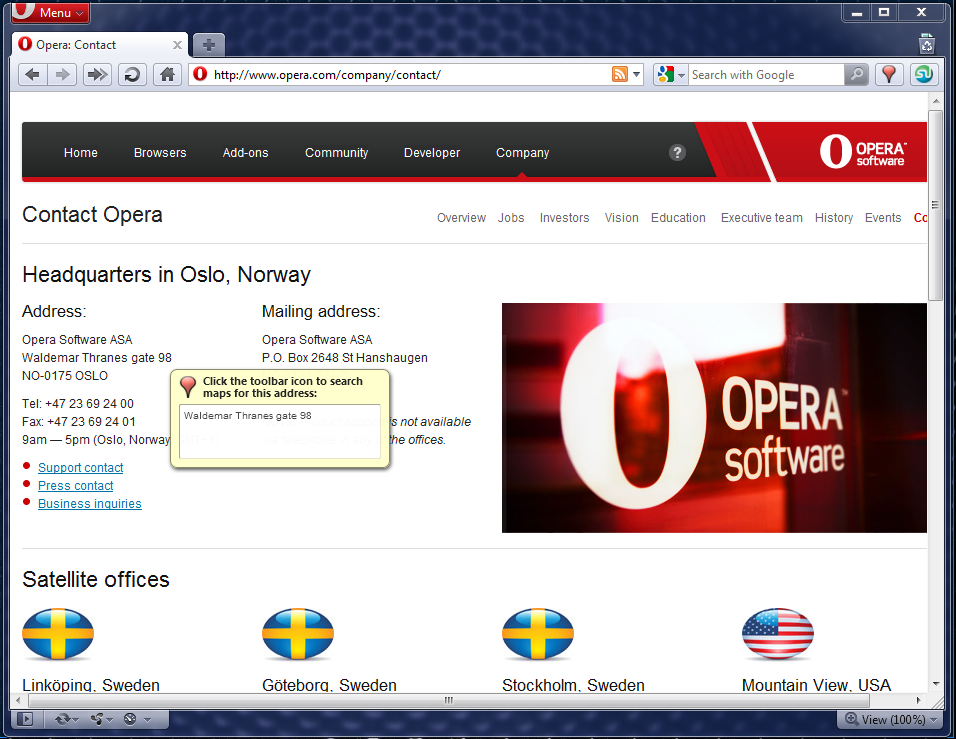 One sample Opera extension sends addresses to a map site.