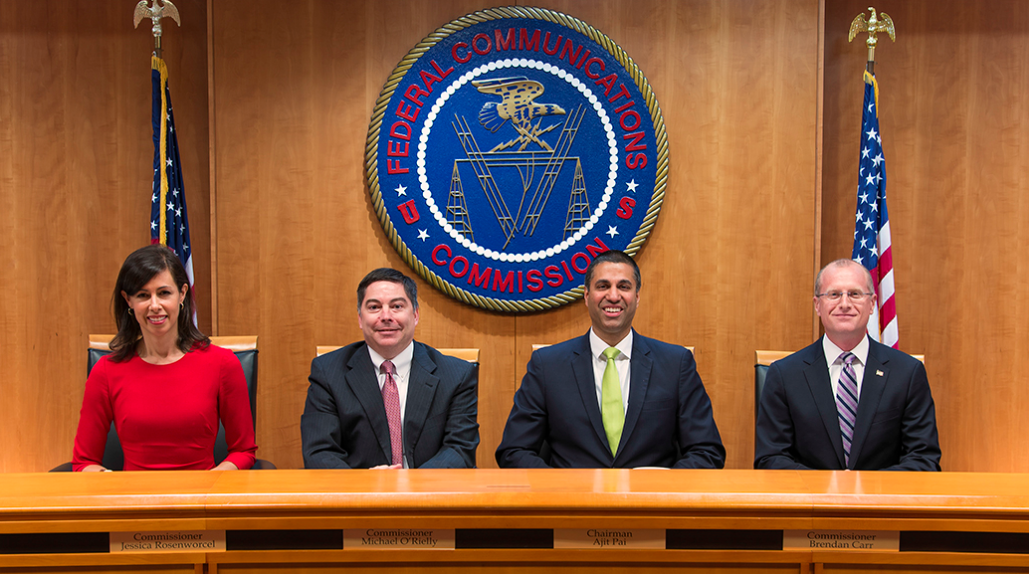 FCC Commissioners Jessica Rosenworcel and Michael O'Rielly, Chairman Ajit Pai and Commissioner Brendan Carr.