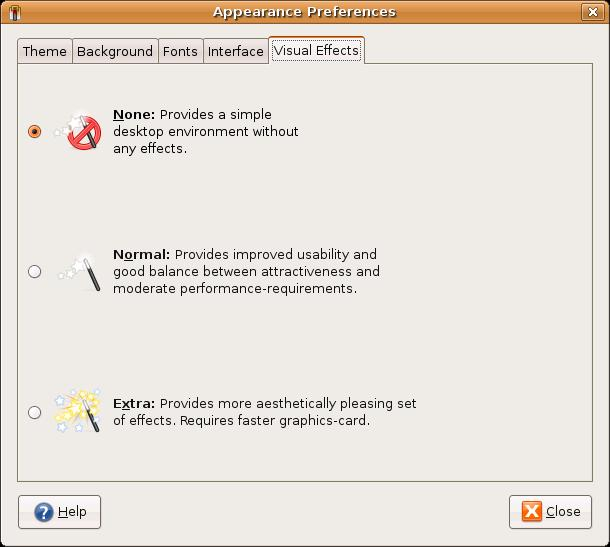 The Visual Effects settings in Ubuntu's Appearance Preferences dialog box