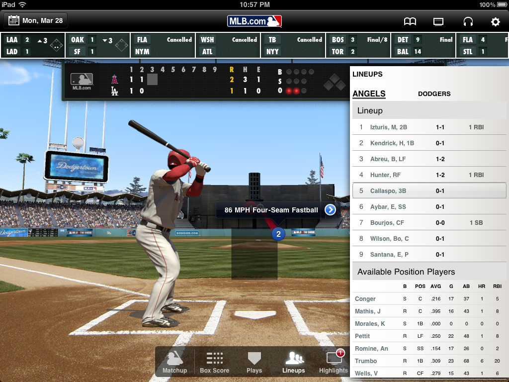 MLB At Bat '11 for iPad includes ballpark backdrops borrowed from Sony's MLB 11: The Show video game. (Click for larger version.)