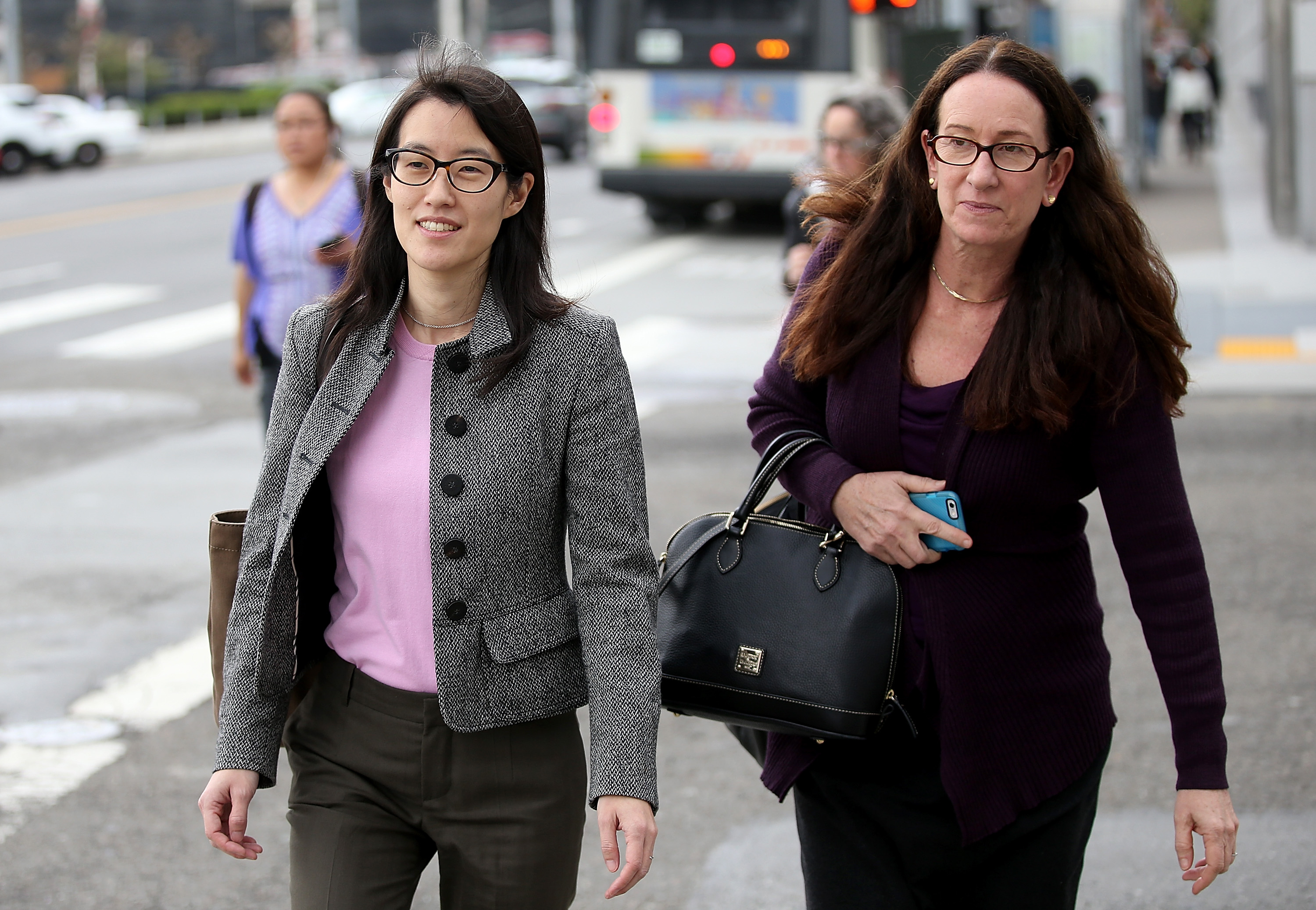 <p>SAN FRANCISCO, CA - MARCH 11:  Ellen Pao (L) leaves the Superior Court Civic Center Courthouse with her attorney Therese Lawless during a lunch break from her trial on March 11, 2015 in San Francisco, California. Pao, the interim CEO of Reddit, is suing her former employer, Silicon Valley venture capital firm Kleiner Perkins Caulfield and Byers, for $16 million alleging she was sexually harassed by male officials.  (Photo by Justin Sullivan/Getty Images)</p>