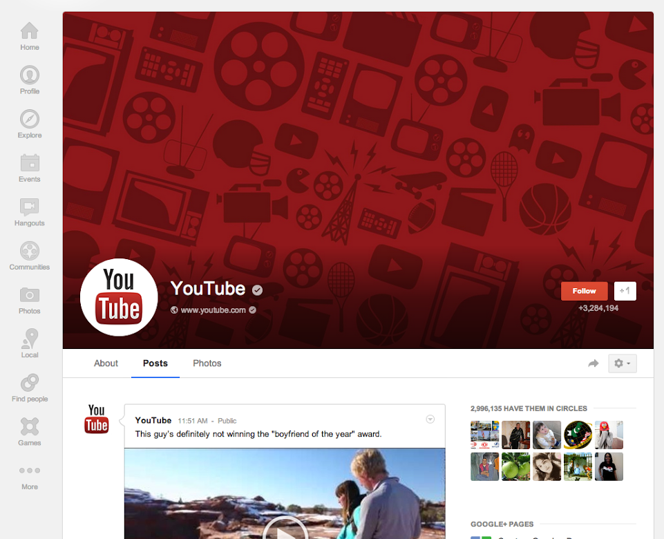 YouTube's updated Google+ profile shows off the larger cover photo.
