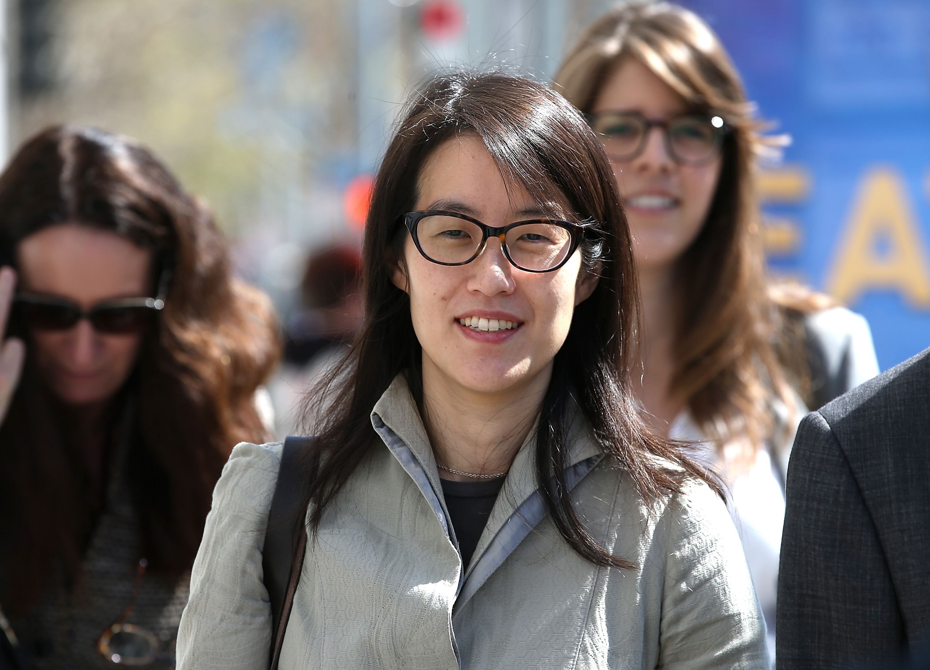 <p>SAN FRANCISCO, CA - MARCH 25:  Ellen Pao leaves the San Francisco Superior Court Civic Center Courthouse with her legal team during a lunch break from her trial on March 25, 2015 in San Francisco, California. Reddit interim CEO Ellen Pao is suing her former employer, Silicon Valley venture capital firm Kleiner Perkins Caulfield and Byers, for $16 million alleging she was sexually harassed by male officials.  (Photo by Justin Sullivan/Getty Images)</p>
