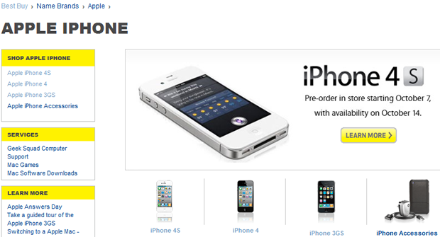 Best Buy is offering the iPhone 4S in all models across all three carriers.