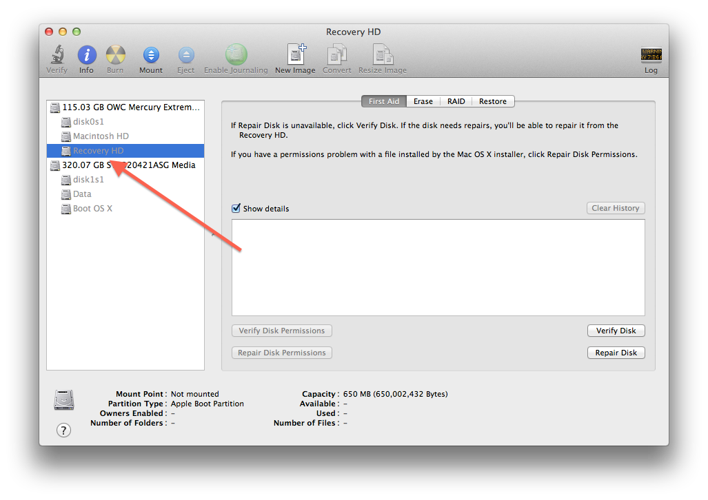 Disk Utility showing hidden partition