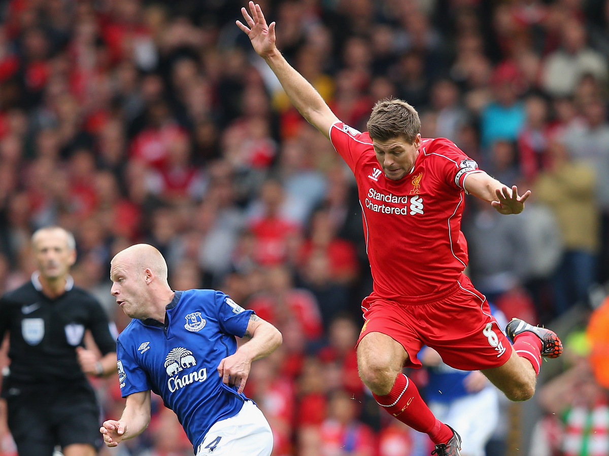 of Liverpool of Everton during the Barclays Premier League match between Liverpool and Everton at Anfield on September 27, 2014 in Liverpool, England.