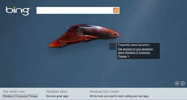 A new Bing page is tipping off Microsoft's upcoming Windows 8 Consumer Preview.