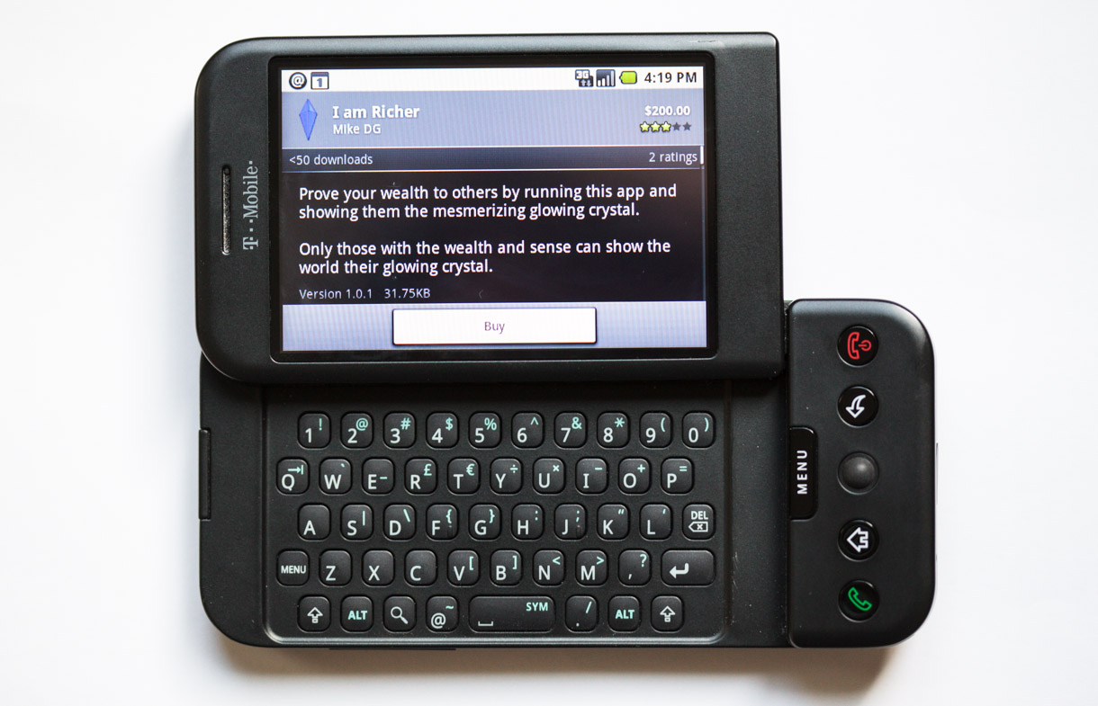 The first Android phone, the T-Mobile G1 built by HTC, had five hardware buttons, a trackball, and a slide-out physical keyboard. Things have settled down so that the vast majority of Android phones today are touch screens with virtual keyboards.