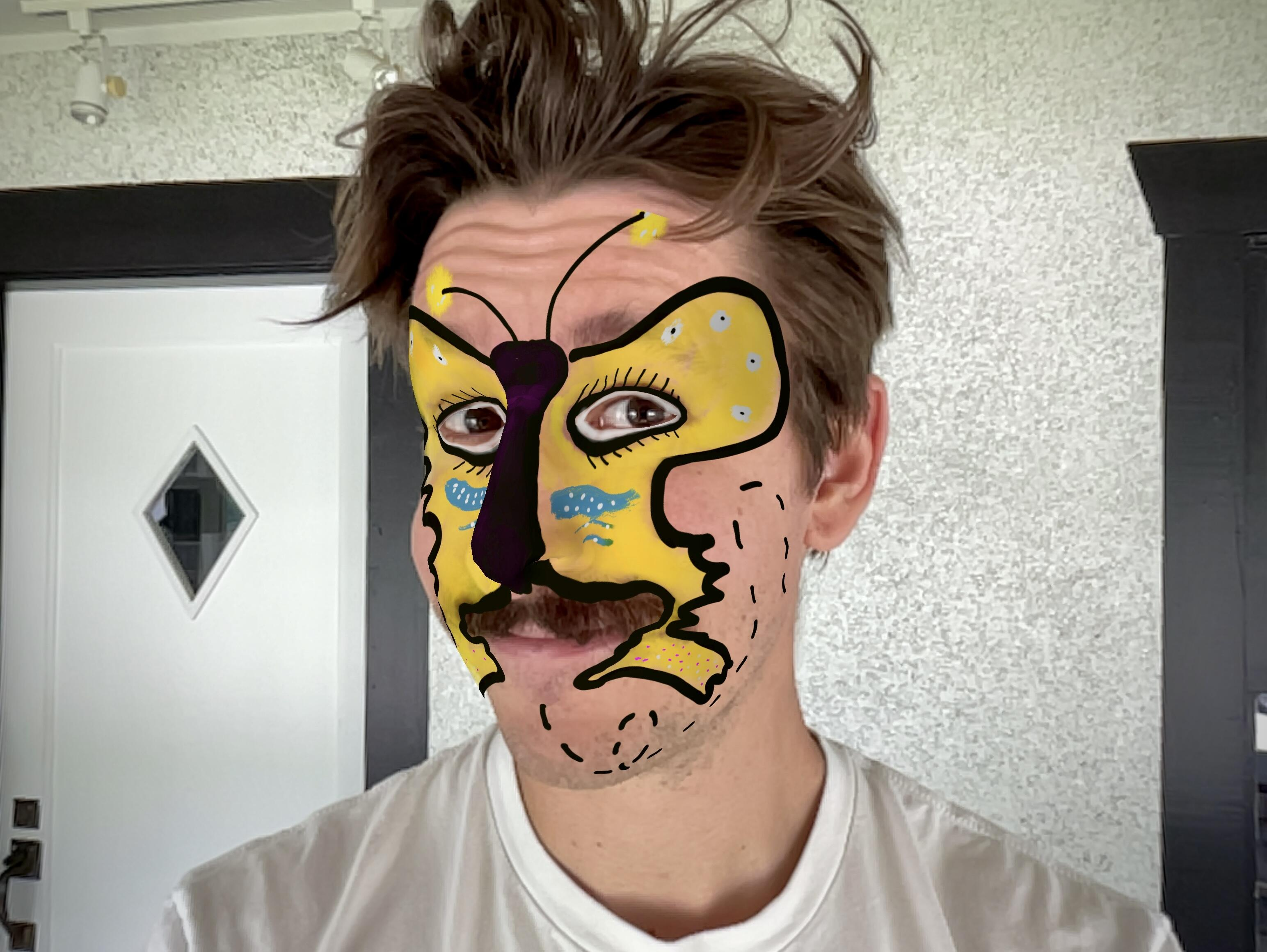 <p>I took this photo to show you my demented butterfly. The hair is just a bonus.</p>