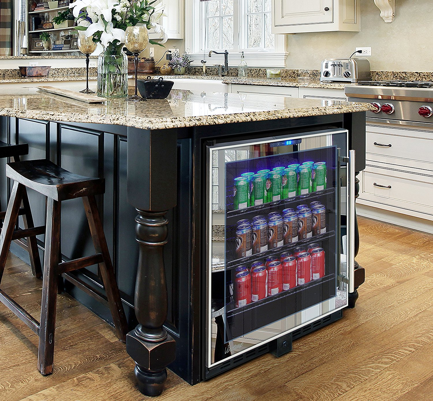 Mirrored Touch Screen Beverage Cooler