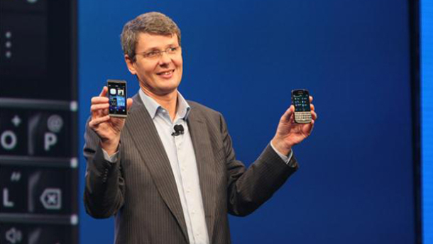 BlackBerry CEO Thorsten Heins with the Z10 and Q10