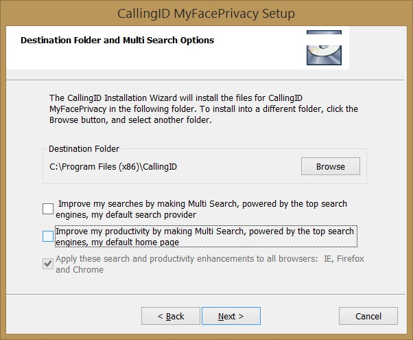MyFacePrivacy installer preselected options to change your default search service and home page
