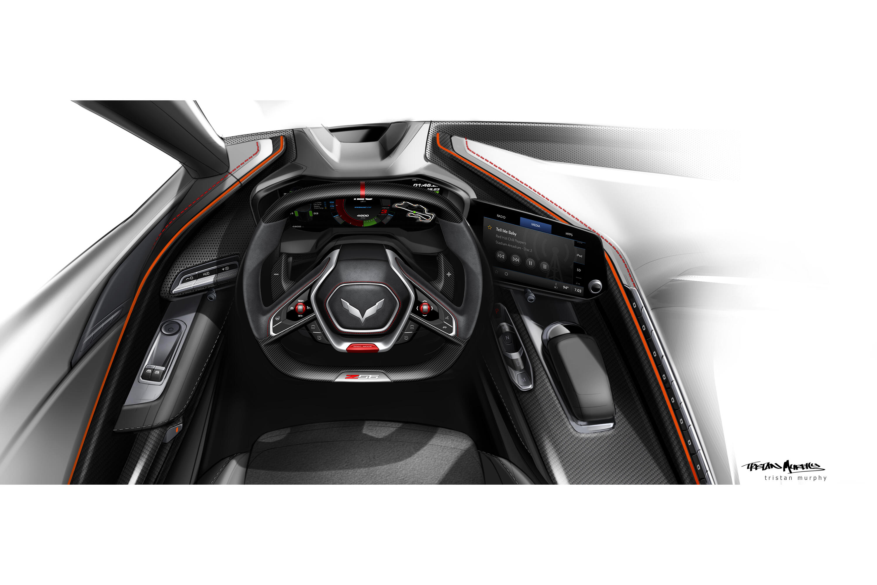 Possible sketch of Chevy Corvette Z06 interior