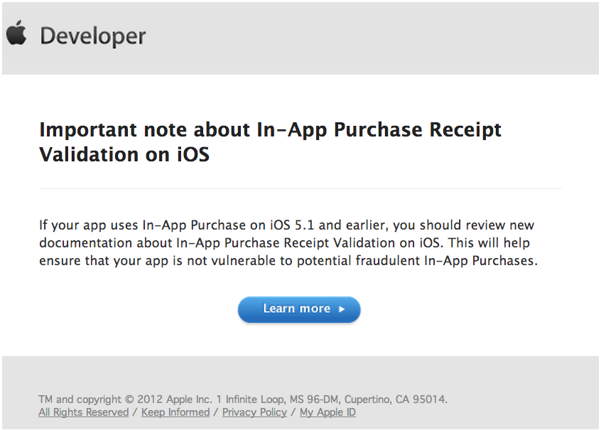 Message sent to Apple developers on Friday.